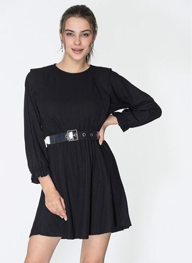 Loves You Beli Lastikli Örme Kloş Elbise Siyah